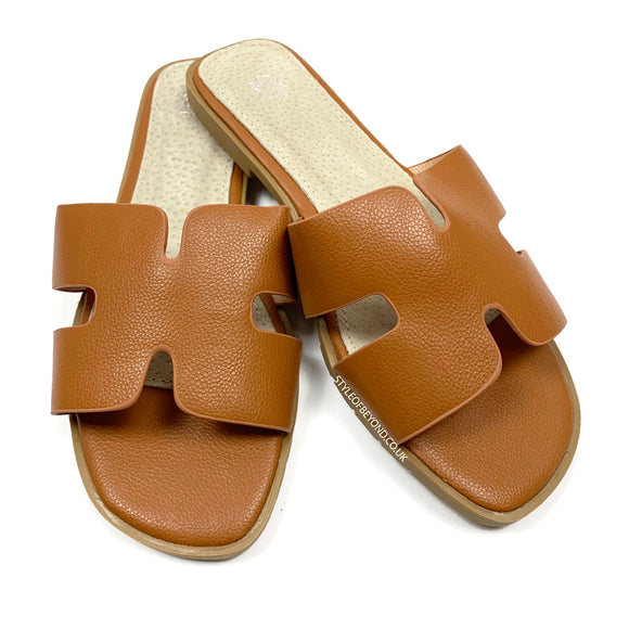 Orlie H Hermes Inspired Sandals - Tan