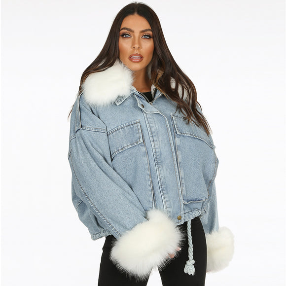 Charlotte Faux Fur Lined Oversized Denim Jacket