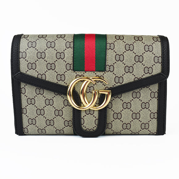 Pippa Stripe Gucci Inspired Bag - Black