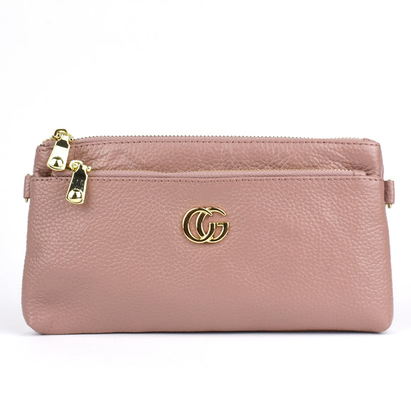 Kiyah Real Leather Designer Inspired Wristlet Purse - Pink