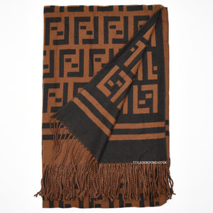 Amber Reversible Fendi Inspired Scarf - Camel / Black