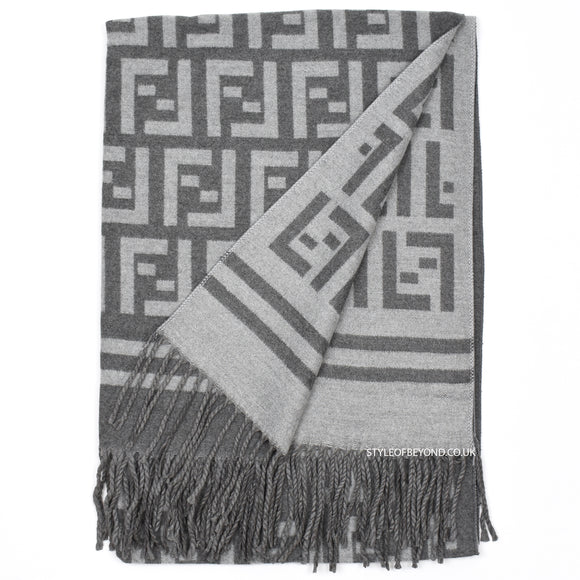 Amber Reversible Fendi Inspired Scarf - Grey / Light Grey