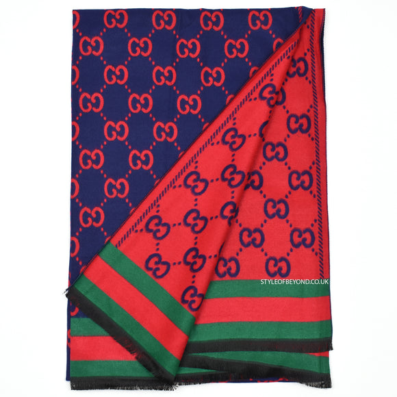Whitney Reversible Gucci Inspired Scarf - Navy / Red