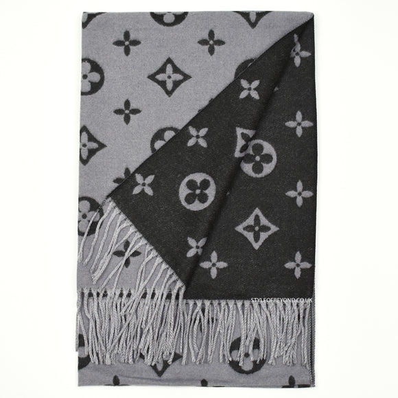Lou Reversible Louis Vuitton Inspired Scarf - Black / Grey