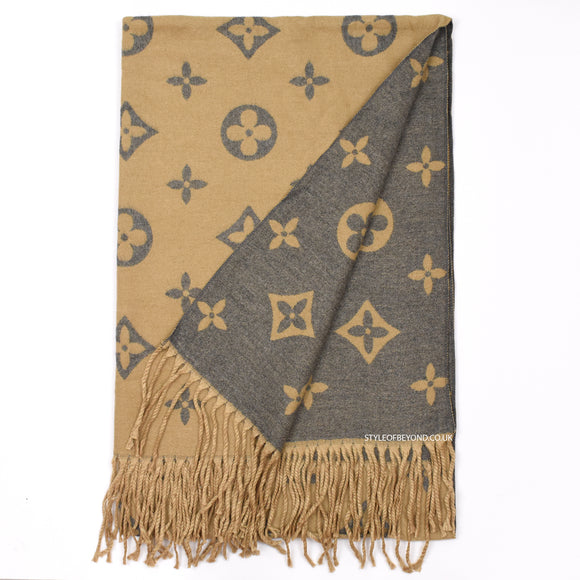 Lou Reversible Louis Vuitton Inspired Scarf - Camel / Grey