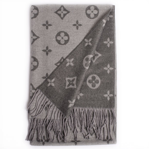 Lou Reversible Designer Inspired Scarf - Grey / Dark Grey