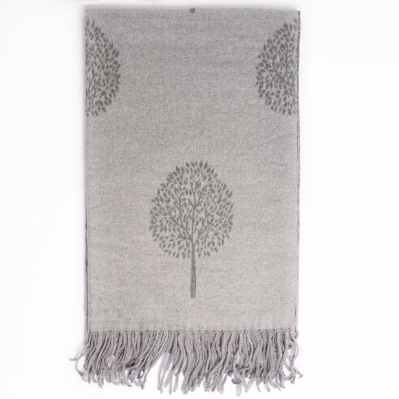 Ria Reversible Mulberry Tree Designer Inspired Scarf - Dark Grey / Grey