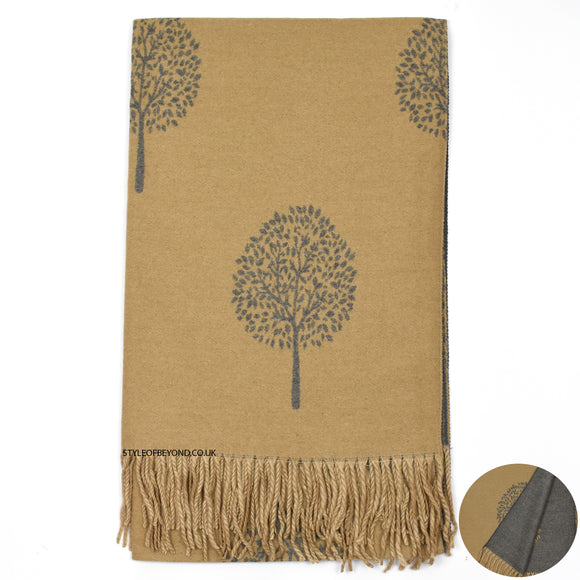 Ria Reversible Mulberry Inspired Scarf - Camel / Grey