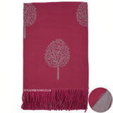 Ria Reversible Mulberry Tree Designer Inspired Scarf - Berry / Grey