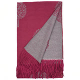 Ria Reversible Mulberry Tree Designer Inspired Scarf - Berry / Grey reverse