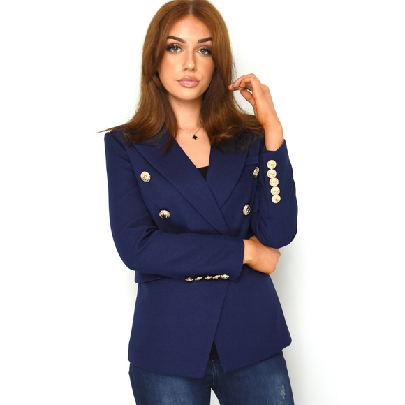 Rose Balmain Inspired Tailored Blazer - Navy
