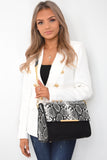 Cambrie Designer Inspired Snake Print Bag - Black side view