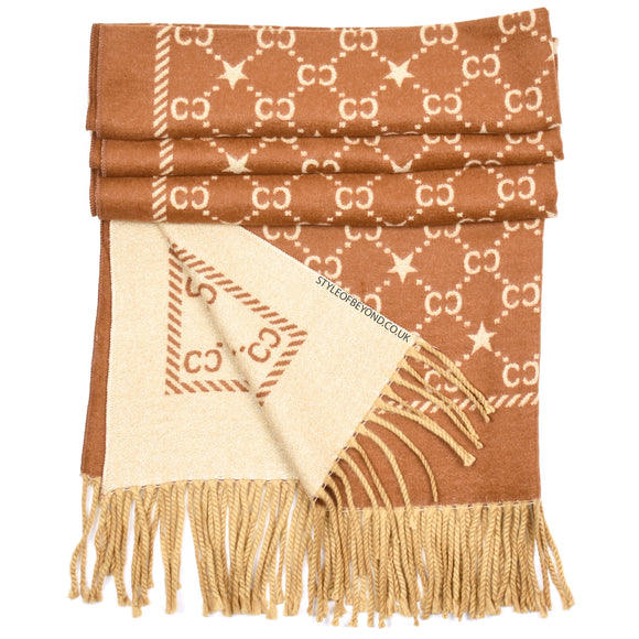 Noel Reversible Gucci Inspired Scarf - Camel