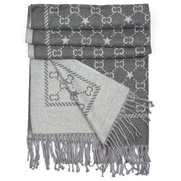 Noel Reversible Gucci Inspired Scarf - Grey