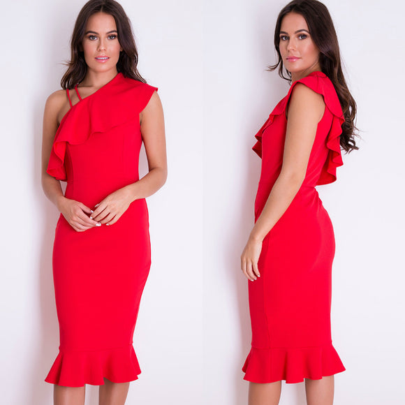 Shay One Shoulder Frill Midi Dress - Red