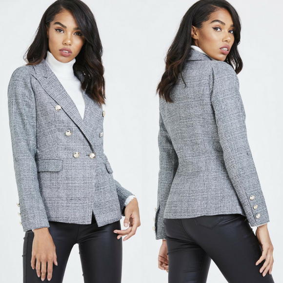 Sloane Double Breasted Balmain Inspired Blazer - Grey Check