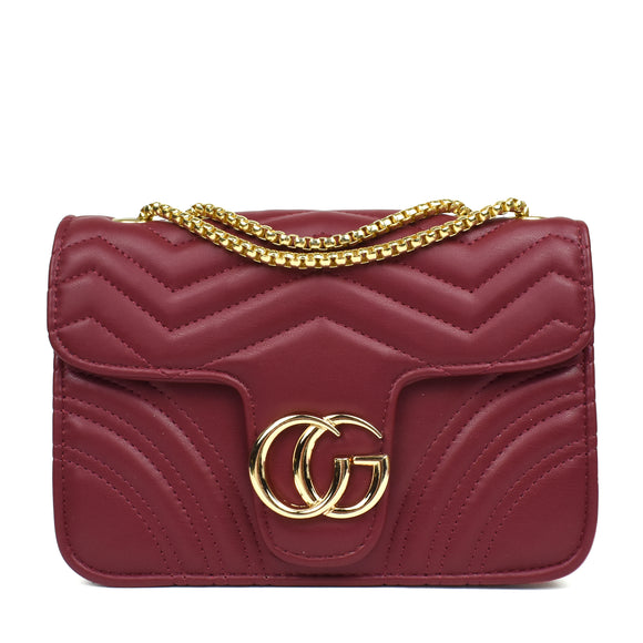 Talia Designer Inspired Bag - Wine Red