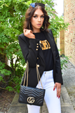 Talia Crossbody Gucci Inspired Marmont Bag - Black worn over arm