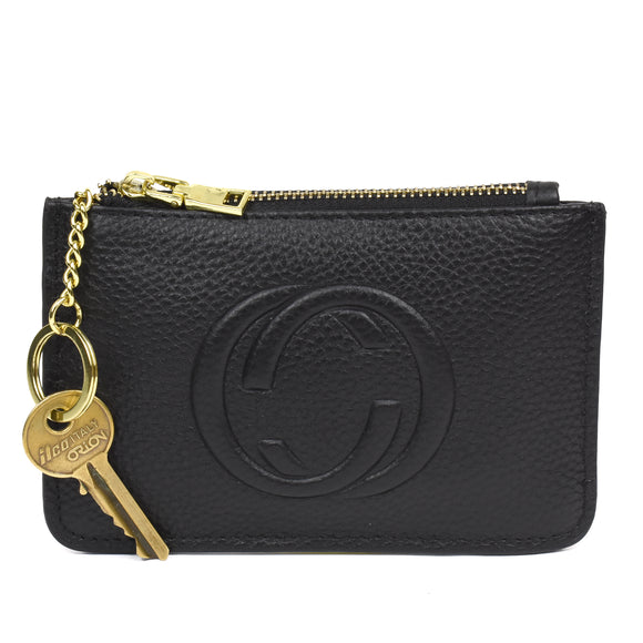 Thea Real Leather Gucci Inspired Key Pouch - Black