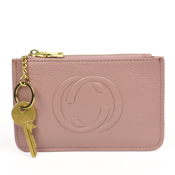 Thea Real Leather Gucci Inspired Key Pouch - Pink