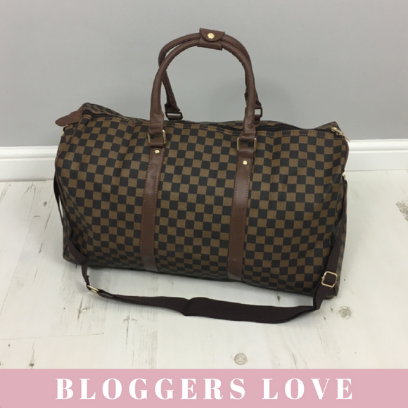 'Take Me Away' Louis Vuitton Inspired Weekend Bag - Brown Check