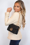 Talia Crossbody Gucci Inspired Marmont Bag - Black worn over the shoulder