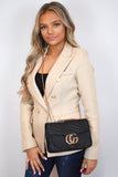 Talia Crossbody Gucci Inspired Marmont Bag - Black worn as a crossbody