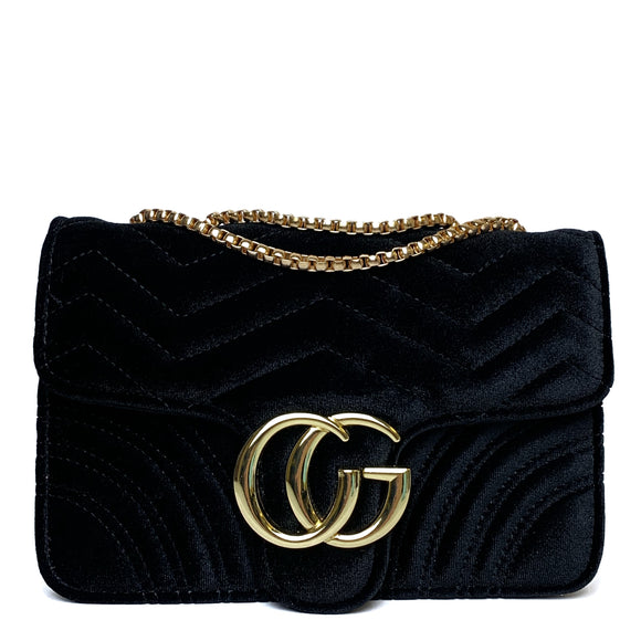 Talia Crossbody Gucci Inspired Marmont Bag - Velvet Black