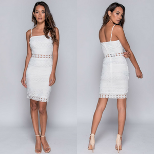Terina Cami Crochet Bodycon Dress - White