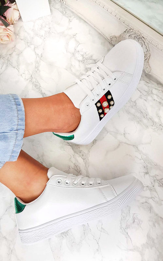 470ce0f3b78 Tessa Pearl Gucci Inspired Trainers – Style Of Beyond