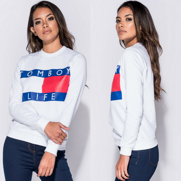 'Tomboy Life' Tommy Hilfiger Inspired Sweatshirt - White