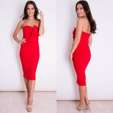 Carmel Knot Front Strapless Midi Dress - Red