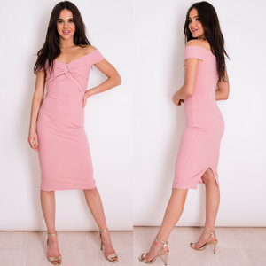 Harrieta Off Shoulder Twist Front Midi Dress - Rose