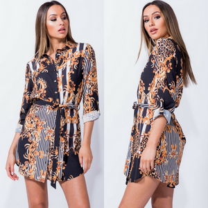c40ceb5fa45 Chiara Baroque Print Versace Inspired Shirt Dress – Style Of Beyond