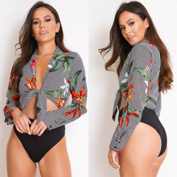 Gabby Floral Tie Front Striped Bodysuit