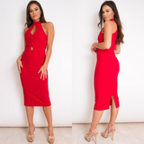 Isla Twist Front Midi Dress - Red