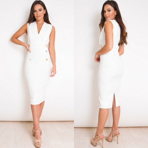 Ingrid Sleeveless Balmain Inspired Blazer Midi Dress - White
