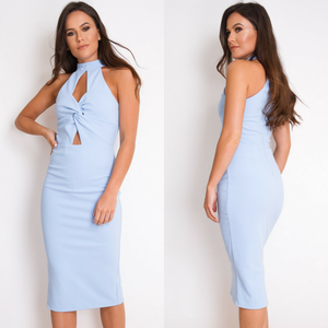 Isla Twist Front Midi Dress - Powder Blue