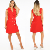 Audrey Sleeveless Balmain Inspired Blazer Dress - Red