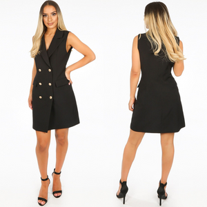 Audrey Sleeveless Balmain Inspired Blazer Dress - Black