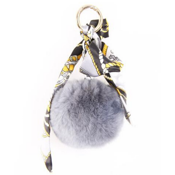 Luna Designer Inspired Real Fur Scarf Keychain - Grey