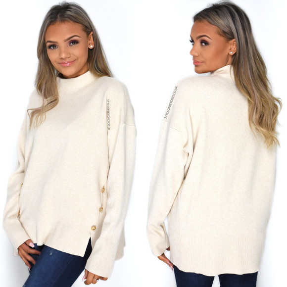 Isla High Neck Designer Inspired Jumper - Cream