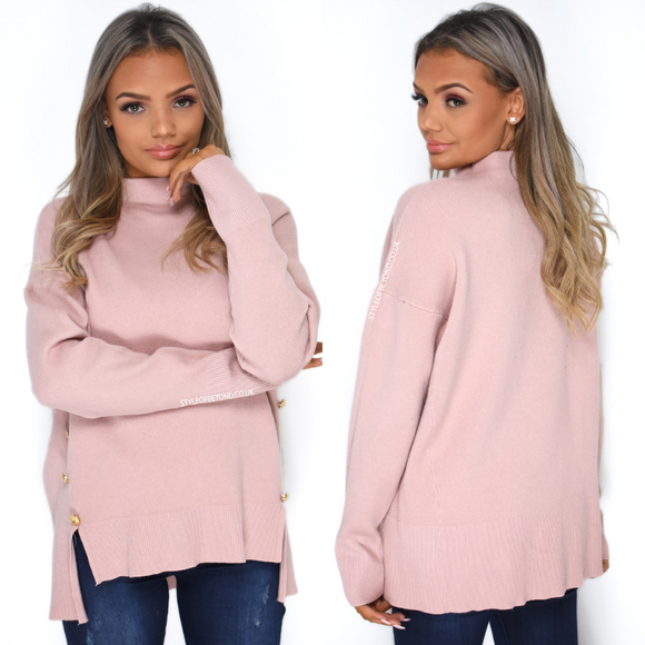 Isla High Neck Designer Inspired Jumper - Pink