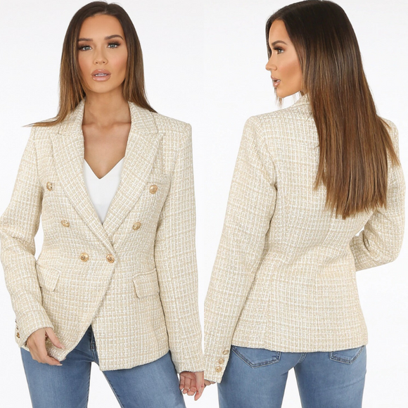 Veronica Tweed Balmain Inspired Blazer - Beige