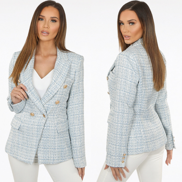 Veronica Tweed Balmain Inspired Blazer - Blue
