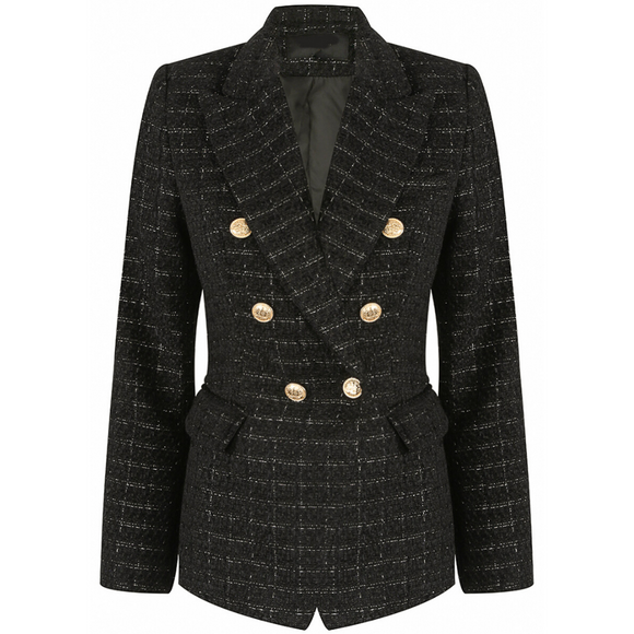 Mabel Tweed Balmain Inspired Blazer - Black