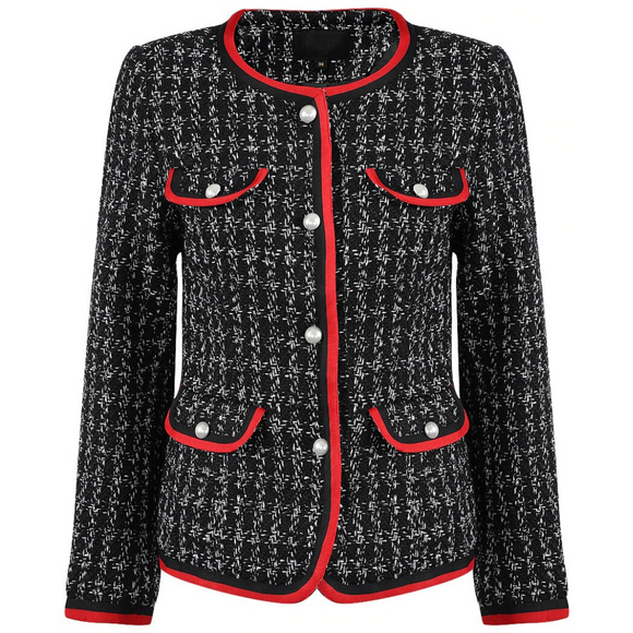 Shreya Houndstooth Gucci Inspired Tweed Jacket - Black