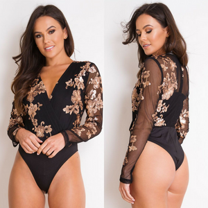 Gracie Long Sleeve Sequin Bodysuit - Black / Rose Gold