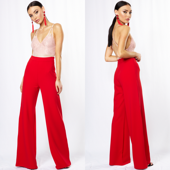 Briony High Waisted Wide Leg Trousers - Red