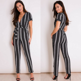 Jasmine Short Sleeved Striped Jumpsuit